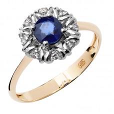 auksinis žiedas su safyru ir briliantais