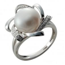 auksinis žiedas su perlu ir briliantais