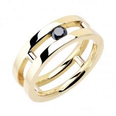 auksinis žiedas su juodu deimantu