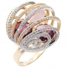 auksinis žiedas su ametistais ir rožiniu kvarcu