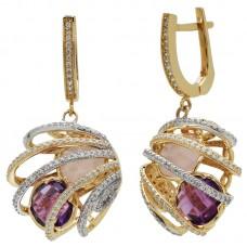auksiniai auskarai su ametistais  ir rožiniu kvarcu