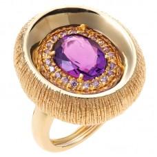 auksinis žiedas su ametistu ir cirkoniais