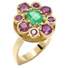 auksinis žiedas su smaragdu ir ametistais