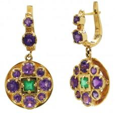 auksiniai auskarai su ametistais ir smaragdais