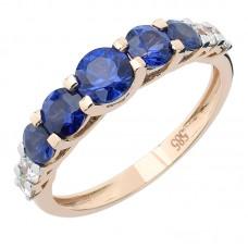 auksinis žiedas su safyrais ir briliantais