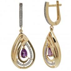 auksiniai auskarai su ametistais