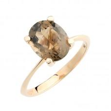 auksinis žiedas su dūminiu kvarcu