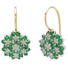 auksiniai auskarai su smaragdais ir briliantais