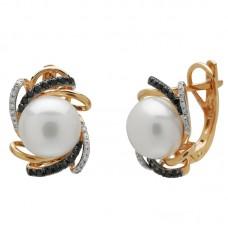auksiniai auskarai su perlais ir briliantais