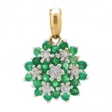 auksinis pakabukas su smaragdais ir briliantais