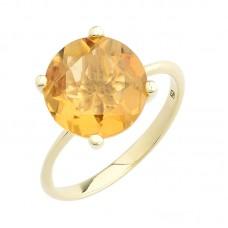 auksinis žiedas su citrinu
