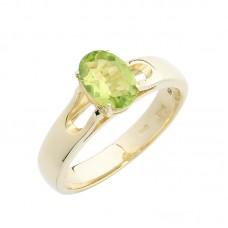 auksinis žiedas su chrizolitu