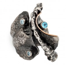 sidabrinis žiedas su topazu ir cirkoniais