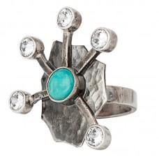 sidabrinis žiedas su turkiu ir cirkoniais