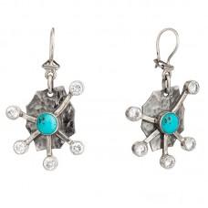 sidabrinia auskarai su turkiu ir cirkoniais