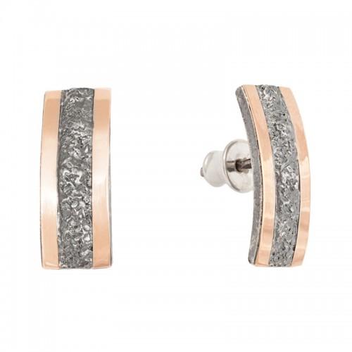 sidabriniai auskarai su aukso detalėmis
