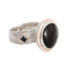 sidabrinis žiedas su obsidianu ir oniksais