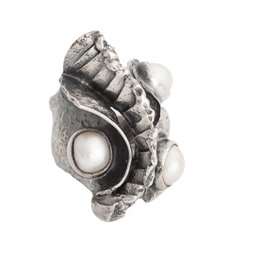 sidabrinis žiedas su perlais