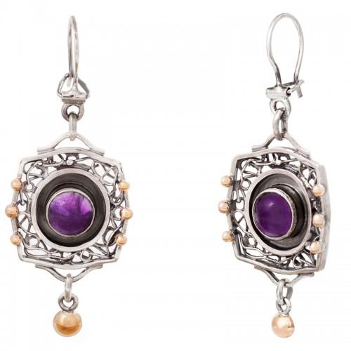 sidabriniai auskarai su ametistais