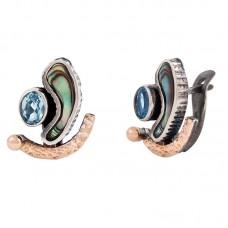 sidabriniai auskarai su topazais ir perlamutrais
