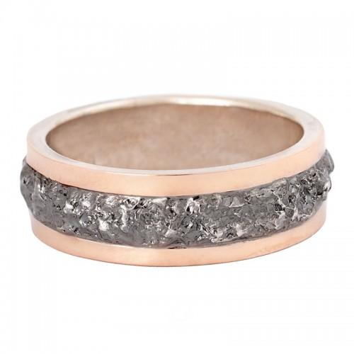 sidabrinis žiedas su aukso detalėmis