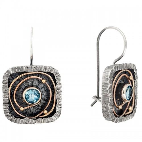sidabriniai auskarai su topazais