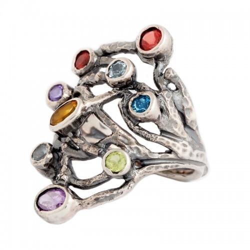 sidabrinis žiedas su naturaliais akmenimis