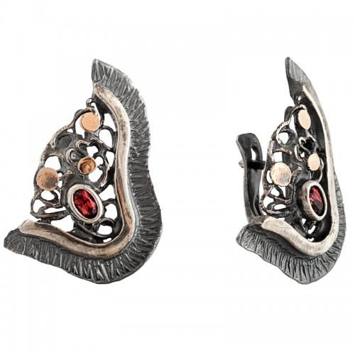 sidabriniai auskarai su granatais